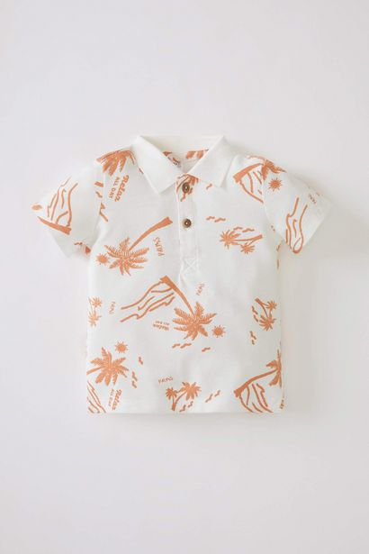 BABY BOY PALM PATTERNED POLO NECK SHORT SLEEVE COTTON T-SHIRT offre à 59 Dh