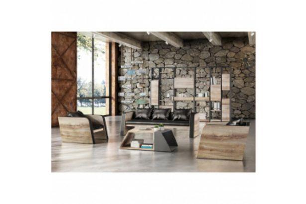 Canapé + 2 fauteuils EMBASSY - Noir et marron oak offre à 19995 Dh