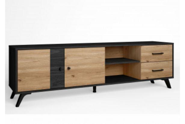 Meuble TV BOCAMINI 2 portes 2 tiroirs - Chêne beige et noir offre à 1795 Dh