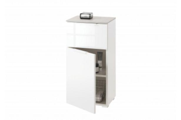 Meuble salle de bain GALAVERNA 1 porte 1 tiroir - Blanc et gris offre à 1095 Dh