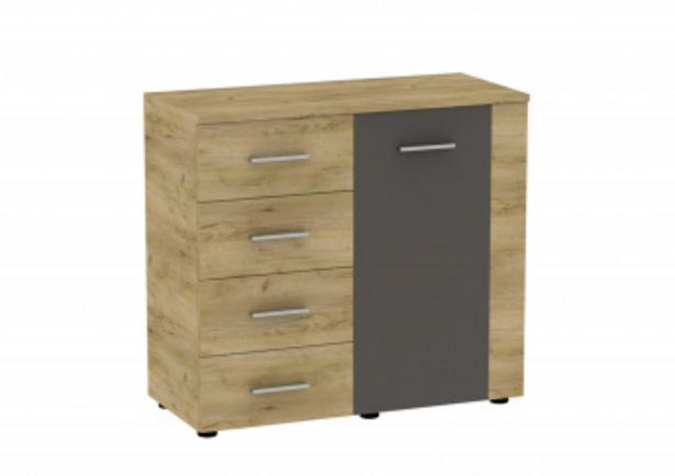 Commode UNO 1 porte et 4 tiroirs Marron Craft et Gris offre à 1195 Dh
