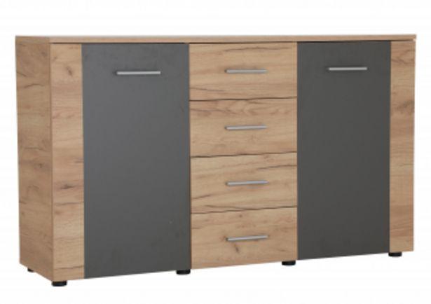 Commode UNO 2 portes et 4 tiroirs Marron Craft et Gris offre à 1595 Dh