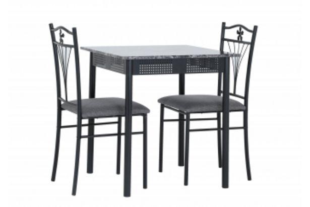 Set table + 2 Chaises MARBLE Gris offre à 995 Dh
