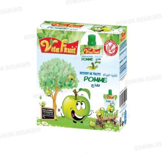 DESSERT DE FRUITS POMME PACK DE 4 GOURDES *80G VITAFRUIT offre à 24,95 Dh