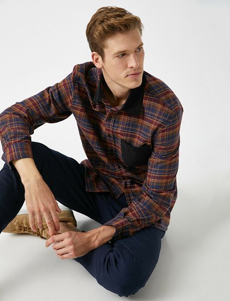 Pocket Detailed Classic Collar Check Shirt offre à 62,99 Dh